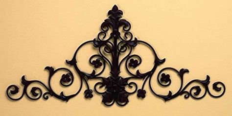 Tuscan Iron Metal Scrolling Acanthus Hanging Wall Grille Swag