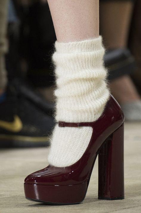 Miu Miu at Paris Fashion Week Fall 2018 - Burgundy heels with wool socks. Burgundy heels with wool socks. Burgundy heels with wool socks. Fashion Week Paris, New York Fashion, Dr Shoes, Sock Shoes, Me Too Shoes, Shoes Sandals, Aesthetic Shoes, Aesthetic Clothes, Aesthetic Fashion