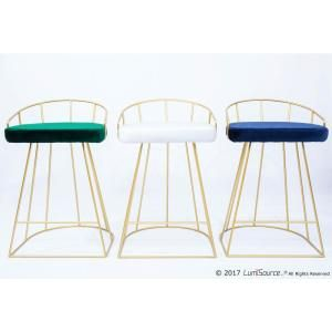 Lumisource Canary Contemporary Gold And Blue Counter Stool Velvet