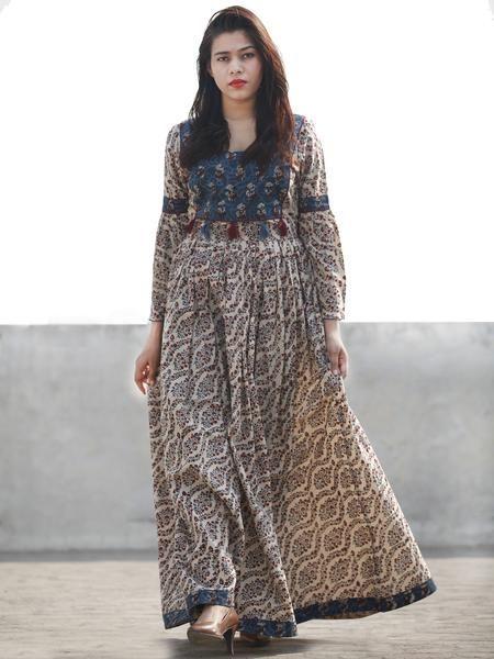 Beige Indigo Maroon Brown Hand Block Printed Long Cotton Dress With Gathers & Tassels - D182F1149