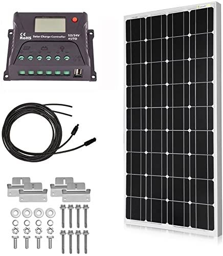 Best Seller Powereco 100 Watt Solar Kit 12v Battery Rv Boat Monocrystalline Solar Panel 20a Lcd Charge Controller Tray Cable Z Brackets Mounting 100w In 2020 Solar Kit Solar Panels Monocrystalline Solar Panels