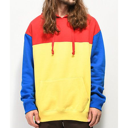Empyre Jester Red, Blue & Yellow Colorblock Hoodie | Zumiez