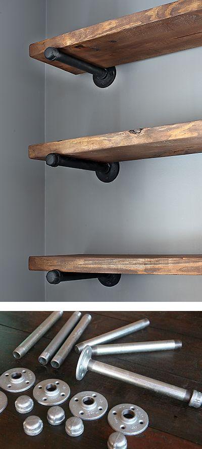 Super easy pipe shelves.                                                                                                                                                      More