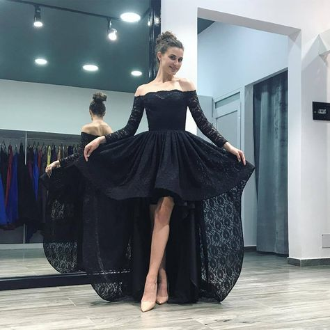 0bc0017cf74 Off Shoulder Black Pink Lace High Low Prom Homecoming Dresses Long Sleeves 2018  front short long back evening party gowns