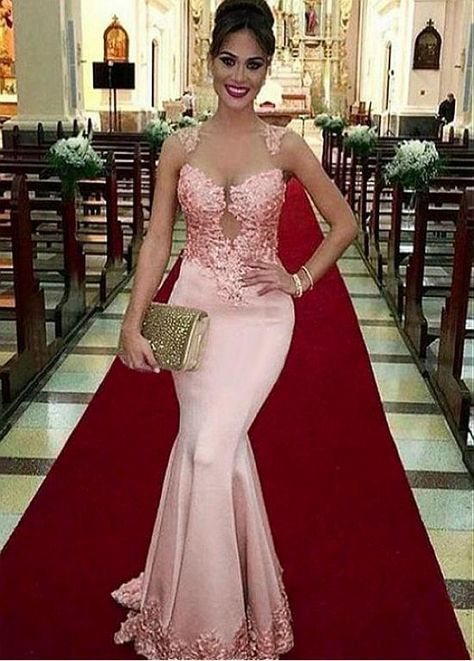 Pink Mermaid Prom Dresses With Lace Appliques Beaded Sheer Jewel Neck Prom Dress Elegant Custom Made Long Prom GownsAdorable Pink Lace Appliques Satin Evening Gown Elegant Mermaid Prom Dresses sold by Bridalstory. Shop more products from Bridalstory
