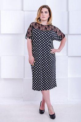 961f722df7a5 Красивое платье с гипюром большого размера Витория черное в горох (54-66)