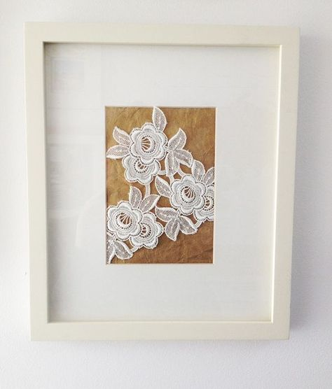 Gorgeous idea for saving a piece of your wedding: take a snippet of lace from your wedding dress and frame it!