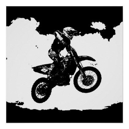 Black White Pop Art Motocross Motorcyle Sport Poster Office Decor Custom Cyo Diy Creative Retro Poster Dorm Decorations Dorm Gifts