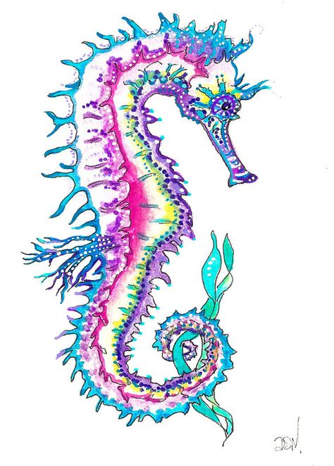 Set of 4 SEAHORSEs Prints 4X6 INCH by DianaMartinStudio on Etsy
