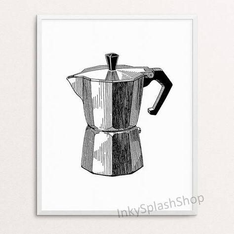 Coffee Art Print Modern Kitchen Wall Decor Moka Pot Ink Drawing