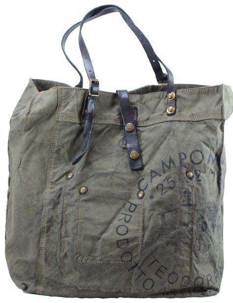 buy good really cheap best choice Campomaggi Canvas Leder Shopper Grigio militär Dunkelgrün ...