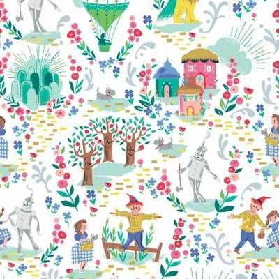 Dorothy/'s Journey Poppy Pink Sparkle Fabric Sold by the Half Yard Dorothy/'s Journey from Riley Blake Design