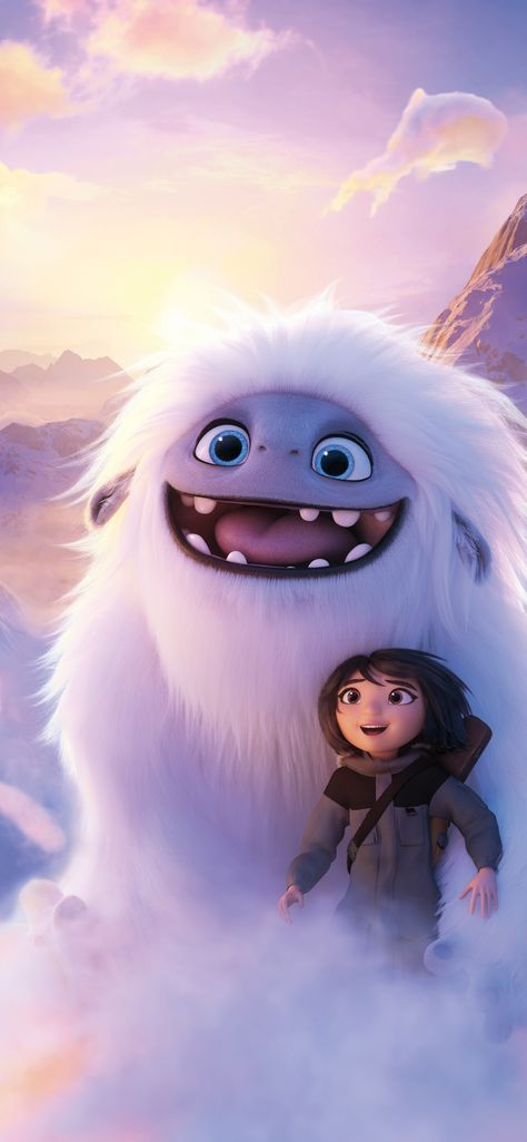 Abominable, yeti and boy, clouds, flight, 2019 movie, 1125x2436 wallpaper