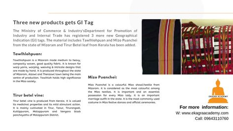 Three new products gets GI Tag:-