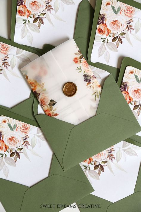 Fall Vellum Wedding Invitations in Sage Green, Rust Orange and Blush Pink Lovely translucent vellum printed with watercolor florals sealed with an elegant wax seal makes this invitation suite tr. Spring Wedding Invitations, Wedding Invitation Sets, Invitation Suite, Wedding Stationery, Invitation Design, Invitation Cards, Wedding Greenery, Boho Wedding, Wedding Rustic