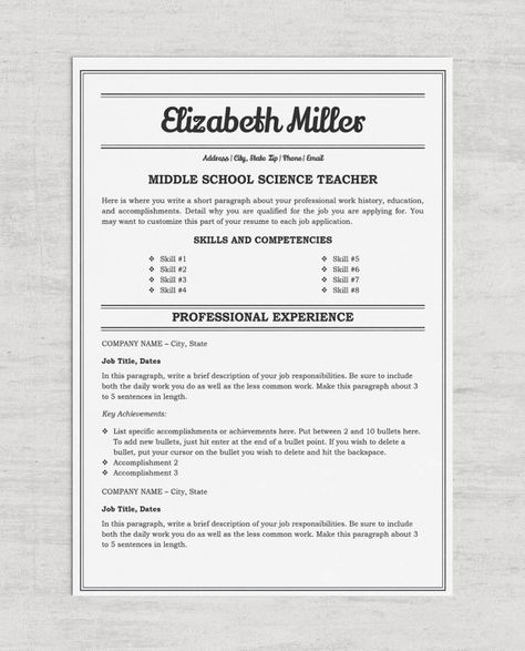 78 Best images about Resume Templates on Pinterest Teacher - format for professional resume