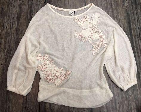 Akemi kin anthropologie top shirt applique floral wool blend sz