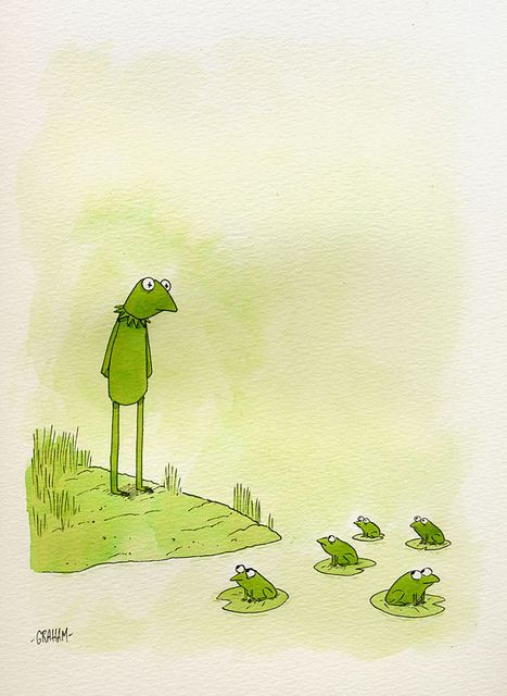 Origins- Kermit by Graham Annable. Piece created for The Lovers, the Dreamers, and Me - A Jim Henson Tribute Exhibition at Gallery Nucleus. Animal Art, Sketches, Illustration, Art Drawings, Drawings, Cute Art, Frog Illustration, Art, Frog Art
