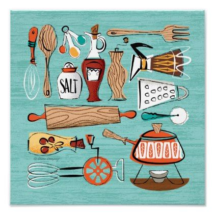 Mid Century Kitchen Montage Poster Aqua Modern Kitchen Art Mid Century Kitchen Kitchen Posters