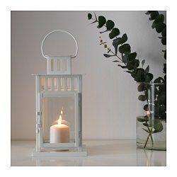 IKEA BORRBY Lanterna in bianco; Lampada da giardino lampada 28cm
