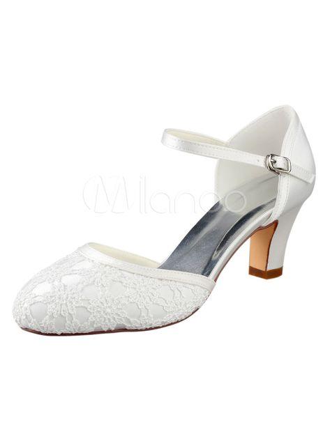 b6fb590491c5 Ivory Wedding Shoes Vintage Round Toe Lace Buckle Detail Bridal Shoes
