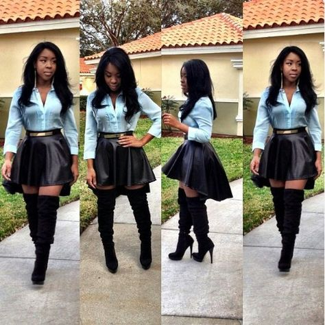 Love this, baby blue button up shirt, black skirt with knee high black heel boots very cute outfit.