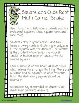 8 Ee 2 Square And Cube Roots Math Game Snake Math Games Math Math Centers