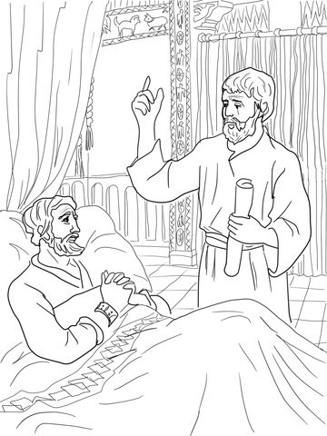 King Hezekiah And Isaiah Coloring Page Bible Coloring Bible