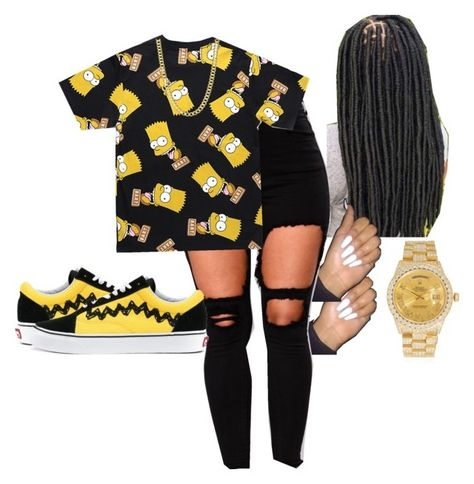 by colourmejayy featuring Rolex and Vans Swag Outfits For Girls, Cute Swag Outfits, Teenage Girl Outfits, Girls Fashion Clothes, Teenager Outfits, Dope Outfits, Grunge Outfits, Teen Fashion, Trendy Outfits