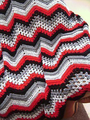 Vintage Crochet Blanket Red Black and White stripe