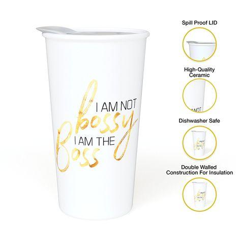 I Am Not Bossy I Am The Boss Ceramic Coffee Travel Mug For Women 12 Oz With Sealed Bpa Free Lid Dishwasher An Ceramic Travel Coffee Mugs Coffee Travel Mugs