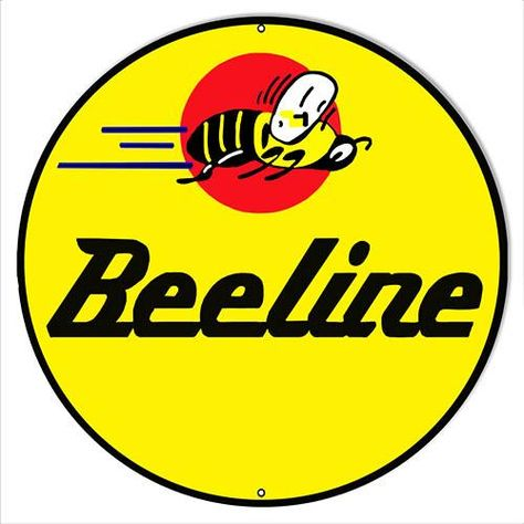 Beeline Motor Oil Reproduction Garage Shop Metal Sign 18x18 Round