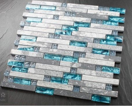 Blue Shell Tile Glass Mosaic Kitchen Backsplash Tiles Sgmt026 Grey