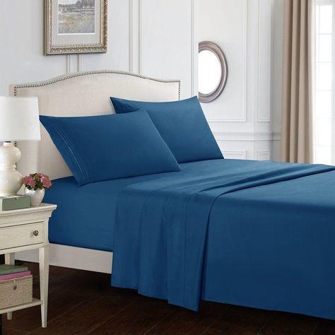 Egyptian Comfort 1800 Count 4 Piece Deep Pocket Bed Sheet Set Quenn King Full