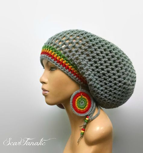 ec4fddbcbb6 MADE TO ORDER Large Light Grey Crochet Slouch hat Dreadlock hat with ...