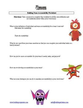 Building Team Accountability Worksheet | Tools for Teachers ...