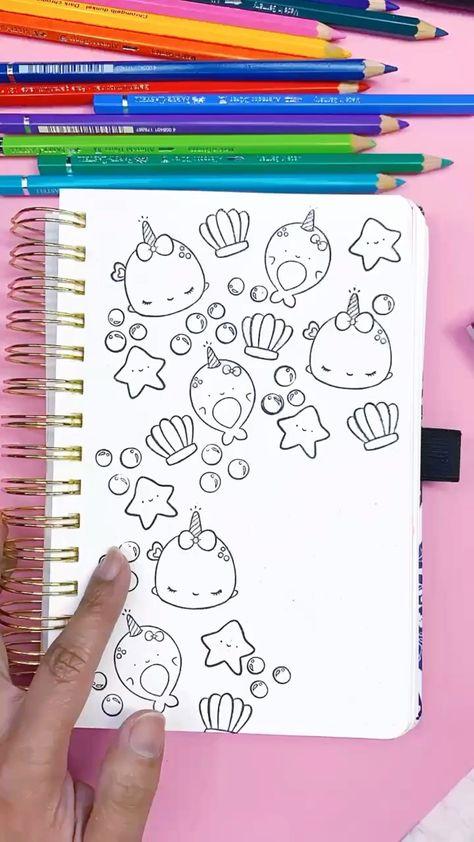 DIY Coloring Book Using Kawaii Stamps
