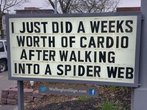 Local Gas Station Makes Whole Town Laugh With Their Hilarious Signs I just did a week's worth of cardio after walking into a spider web. Funny Sign Fails, Funny Road Signs, Funny Quotes, Hilarious Sayings, 9gag Funny, It's Funny, Funny Shit, Qoutes, Good Morning Funny Pictures