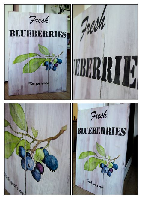 Blueberries Farm Fresh U Pick Primitive Wood Sign Rustic Sign Cottage Chic Sign Shabby Chic Sign Kitchen Sign