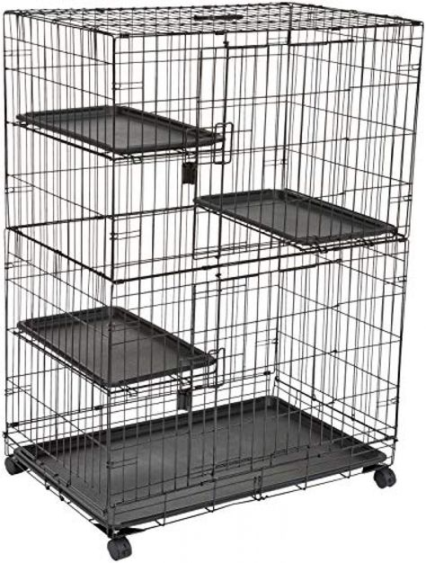 AmazonBasics Large 3-Tier Cat Cage Playpen Box Crate Kennel - 36 x 22 x 51 Inches, Black Price: $87.49 #DogsTreats>>#CatsTreats>>>#DogsCollars#CatsCollars#Pets