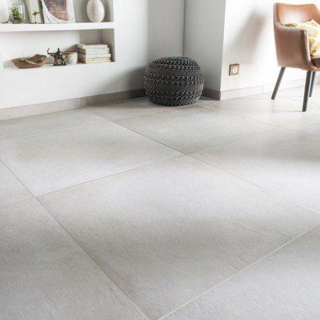 Carrelage Sol Et Mur Blanc Casse Effet Beton Time L 75 X L 75 Cm