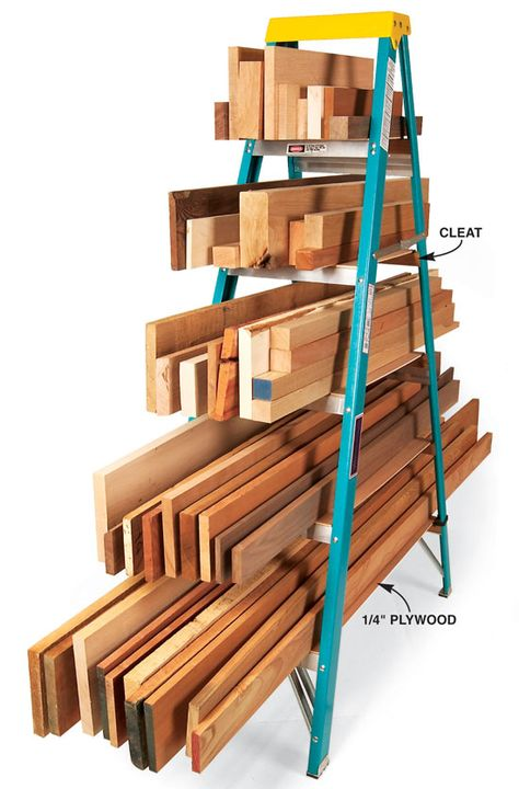 Ladder lumber rack - Excellent storage for the extra random wood that's next to the house. and in the garage. and in the back yard ;) My husband would love this, and I even think there's an extra ladder laying around! by Ink-de-l'Art Garage Organization, Garage Storage, Easy Storage, Lumber Storage Rack, Organization Ideas, Storage Cart, Smart Storage, Organizing Tools, Organized Garage