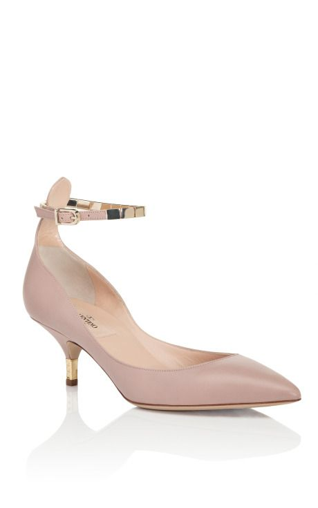 designer:Valentino    Soft Noisette Ankle Strap Kitten Heel    Click photo for more details.