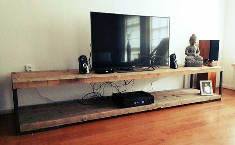 Flatscreen Tv Meubel.Tv Meubel Van Oude Balken Van Customthijs Wohnzimmer Tv Mobel