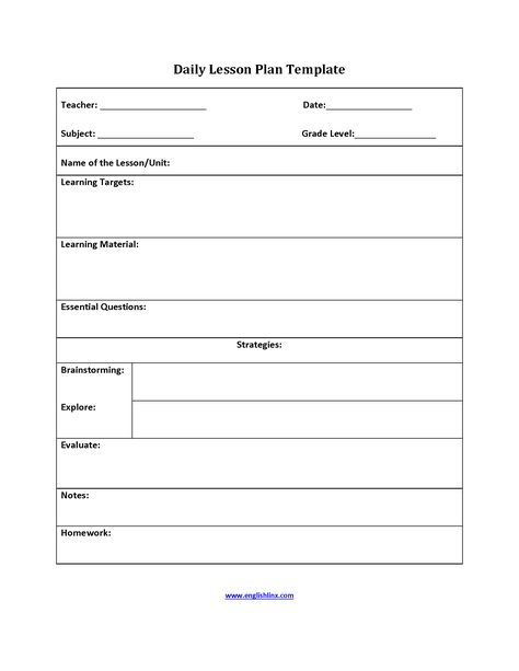 Six Step Lesson Plan Template interactive grammar book 9-2016 - Daily Lesson Plan Template