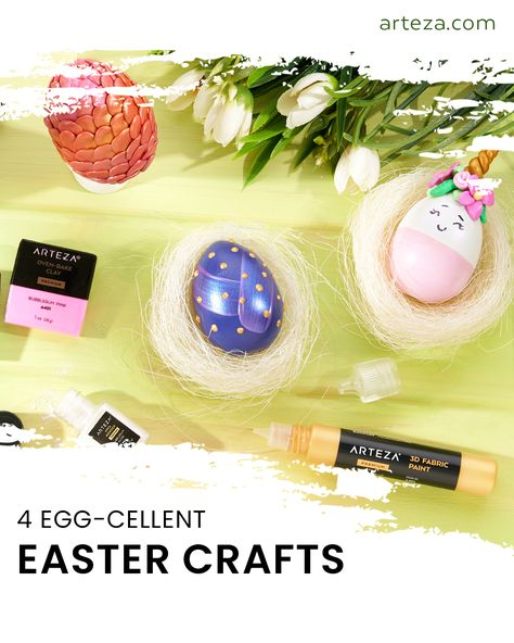 Need fun Easter egg decorating ideas? Check out our blog post featuring 4 step-by-step tutorials for your unique Easter egg designs.   Pro-tip: We used wooden eggs for our Easter crafts. This keeps them from spoiling, cracking, or otherwise making a mess.