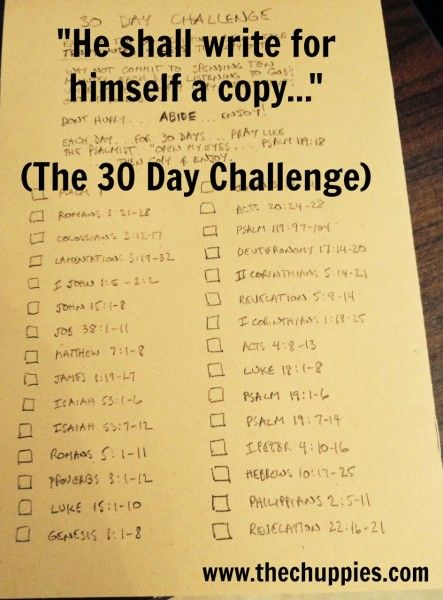 """""""He shall write for himself a copy..."""" (The 30 Day Challenge) @thechuppies"""
