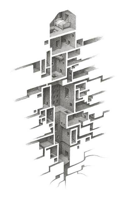 緻密でシュール 蟻の巣のように繋がる部屋を描いたイラストレーション