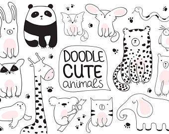 Cute Animals Svg Animal Clipart Set Zoo Svg Bear Svg Baby Etsy In 2021 Animal Clipart Space Animals Minimalist Animal