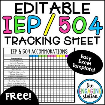 Free Editable Iep 504 Accommodations Tracking Chart Teaching